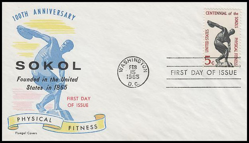 1262 / 5c Physical Fitness 1965 Fluegel First Day Cover