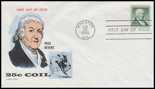 1059A / 25c Paul Revere Coil : Liberty Issue Series 1965 Fluegel First Day Cover