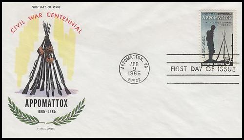 1182 / 5c Appomattox : Civil War Centennial 1965 Fluegel First Day Cover
