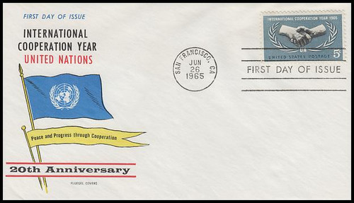 1266 / 5c International Cooperation Year 1965 Fluegel First Day Cover