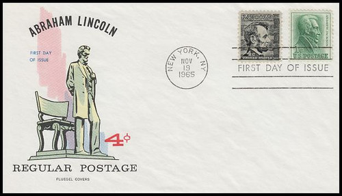 1282 / 4c Abraham Lincoln : Prominent American Series 1965 Fluegel First Day Cover