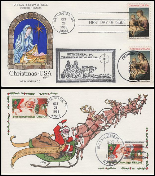 2063 - 2064 / Christmas Religious and Santa Claus Dual Postmarks Set of 2 Collins Hand-Painted 1983 FDCs