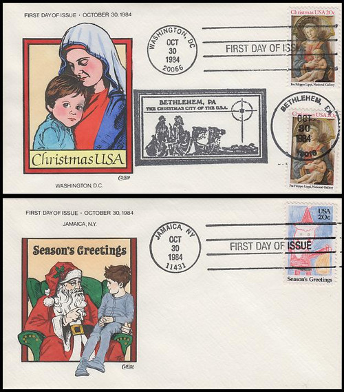 2107 - 2108 / Christmas Religious and Santa Claus Set of 2 Collins Hand-Painted 1984 First Day Covers