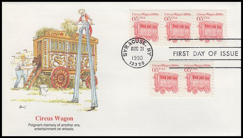 2452 / 5c Circus Wagon 1990 Fleetwood First Day Cover