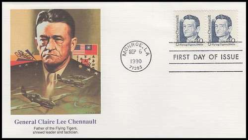 2187 / 40c Claire Lee Chennault - Flying Tigers Attached Pair : Great Americans Series 1990 Fleetwood FDC