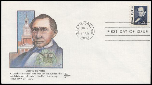 2194 / $1 John Hopkins : Great Americans Series 1989 Gill Craft First Day Cover