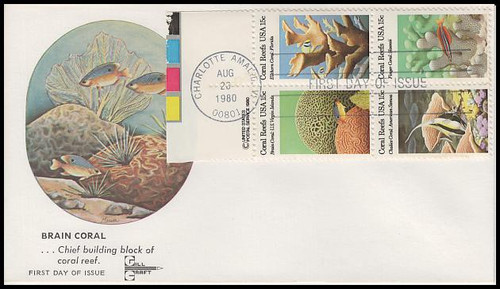 1830a / 15c Coral Reefs Se-Tenant Block Gill Craft 1984 First Day Cover