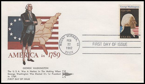 1952 / 20c George Washington : U.S. President 1982 Gill Craft First Day Cover