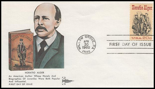 2010 / 20c Horatio Alger : Author 1982 Gill Craft First Day Cover
