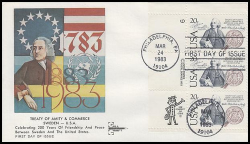 2036 / 20c U.S. Sweden : Treaty of Amity and Commerce 1983 Gill Craft FDC