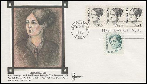 1844 / 1c Dorothea Dix : Great Americans Series 1983 Gill Craft First Day Cover