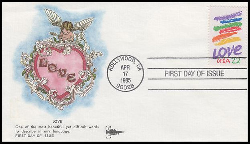 2143 / 22c Love Crayon : Love Series Hand Cancel Gill Craft 1985 FDC