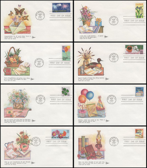 2267 - 2274 / 22c Special Occasions Set of 8 Gill Craft 1987 FDCs