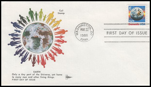 "2279 / 25c "" E "" Rate Stamp Globe Coil 1988 Gill Craft First Day Cover"