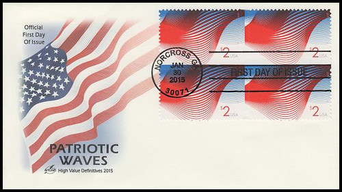 4954 / $2 Patriotic Wave Block 2015 Artcraft First Day Cover