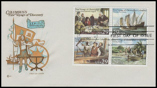 2623a / 29c First Voyage of Christopher Columbus Se-Tenant Block Cover Craft Cachet 1992 FDC With Insert Card