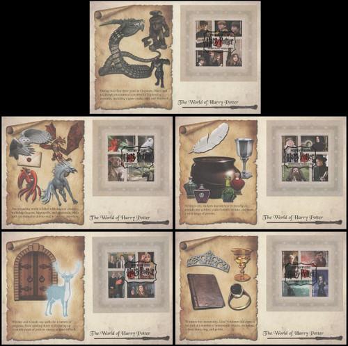 4828a - 4844a / 46c Harry Potter Panes of 4 Set of 5 Fleetwood FDCs