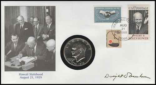 Life And Times Of Eisenhower : Hawaii Statehood : Eisenhower Dollar 1998 Fleetwood Commemorative Cover #27