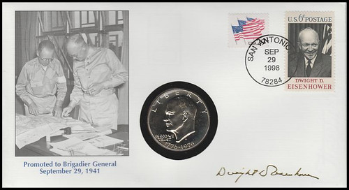 Life And Times Of Eisenhower : Promoted To Brigadier General : Eisenhower Dollar 1998 Fleetwood Commemorative Cover #29