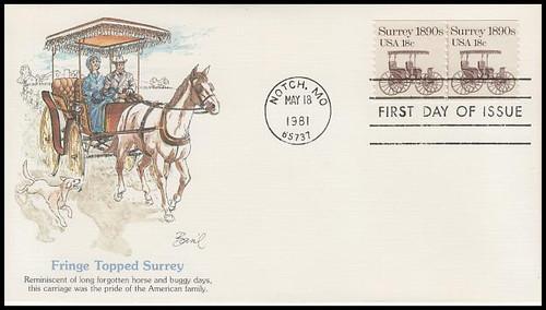 1907 / 18c Surrey : Transportation Series Coil Pair PNC #1 Fleetwood 1981 FDC