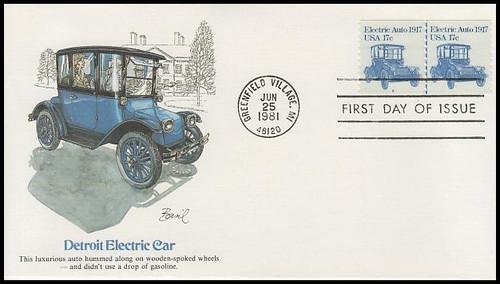 1906 / 17c Electric Auto : Transportation Series Coil Pair PNC #2 Fleetwood 1981 FDC
