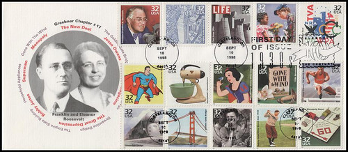 3185a-o / 32c Celebrate The Century ( CTC ) 1930s Combo All 15 Stamps 1998 Graebner Chapter #17 FDC
