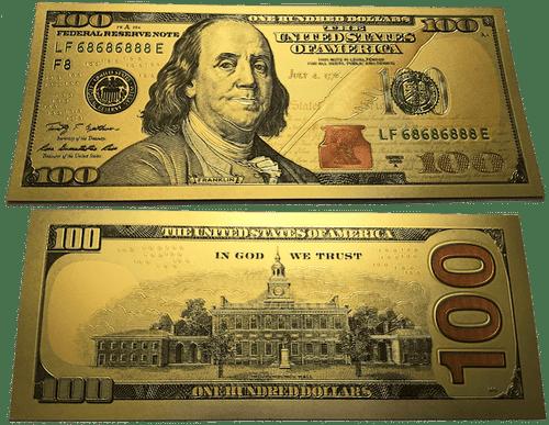 $100 Benjamin Franklin Colorized Gold Foil Polymer Replica Banknote Series 2009