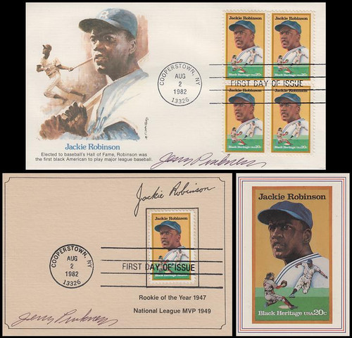 2016 / 20c Jackie Robinson Signed FDC and Maxi Card Set with Bonus USPS Stamp Card