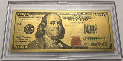 $100 Benjamin Franklin Colorized Gold Foil Polymer Replica Banknote Series 2009 In Currency Slab