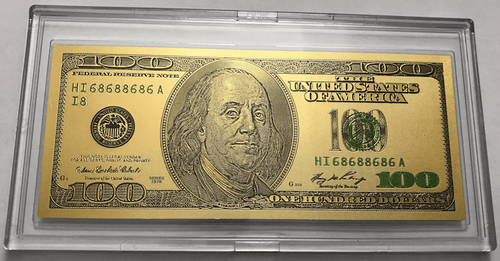 $100 Benjamin Franklin Colorized Gold Foil Polymer Replica Banknote Series 1976 In Currency Slab