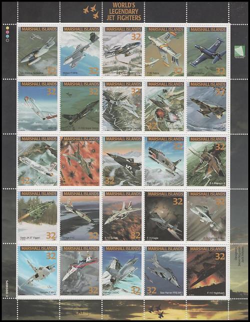 600 / 32c World's Legendary Jet Fighters 1995 Marshall Islands 25 Stamp Se-Tenant Sheet