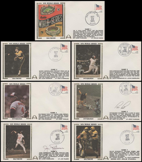 1979 World Series Set of 7 with 2 Autographs Gateway Stamp Silk Cachet Event Covers