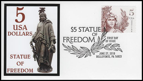 5297 / $5 Statue Of Freedom FDCO Exclusive 2018 FDC