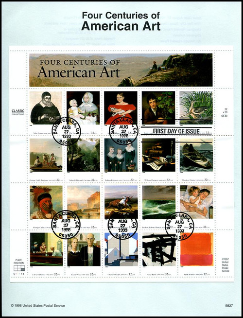 3236 / 32c Four Centuries of American Art Pane of 20 : 1998 USPS #9827 Souvenir Page