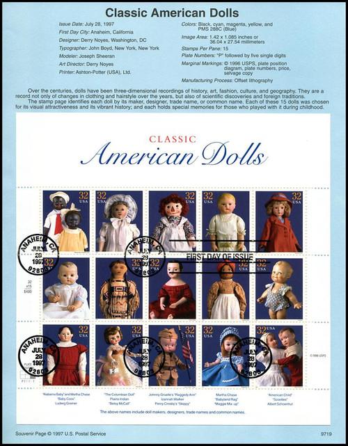 3151 / 32c Classic American Dolls Pane of 15 : 1997 USPS #9719 Souvenir Page