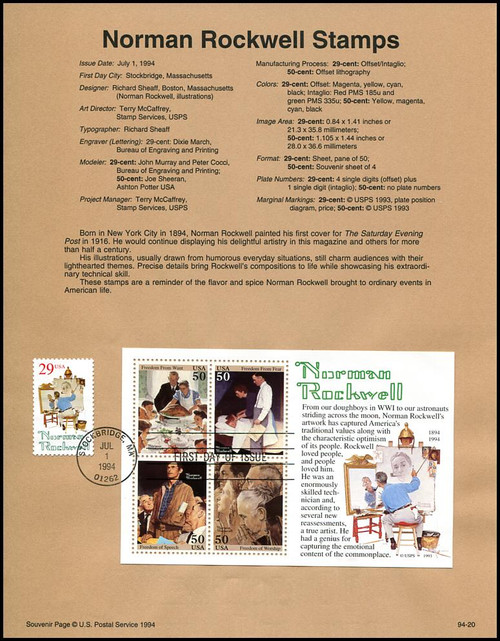 2839 - 2840 / 29c - 50c Norman Rockwell Stamp and Souvenir Sheet of 4 : 1994 USPS #94-20 Souvenir Page