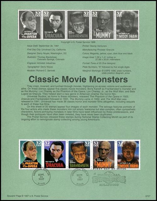 3168 - 3172 / 32c Classic Movie Monsters Se-Tenant Strip of 5 : 1997 USPS #9727 Souvenir Page