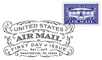 United States Airmail Blue Stamp Black and White Pictorial Postmark