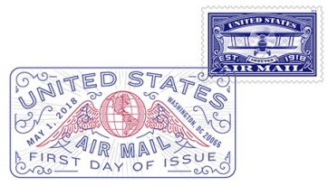 United States Air Mail Blue Stamp Digital Color Pictorial Postmark
