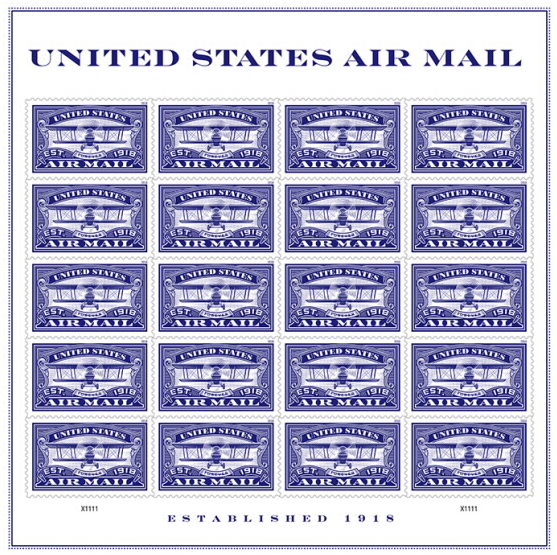 United States Air Mail Blue Stamp