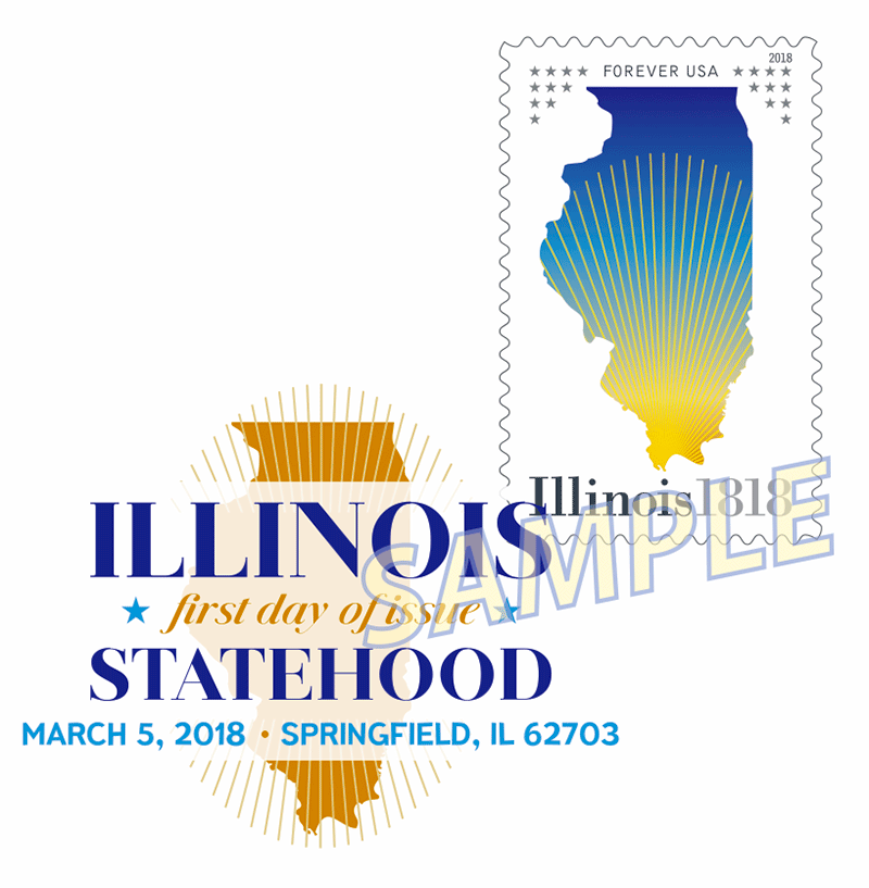 Illinois Statehood Stamp Digital Color Pictorial Postmark