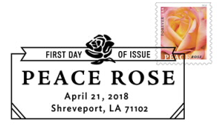 Peace Rose Education Stamp Black and White Pictorial Postmark