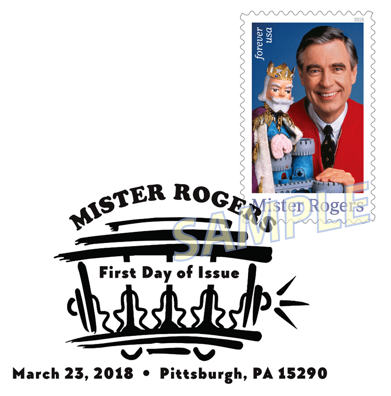 Mister Rogers Stamp Black and White Pictorial Postmark