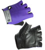 Purple Cycling Gloves in Leather and Spandex