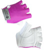 Pink and White - Cycling Gloves in Leather and Spandex