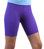 Purple compression exercise shorts