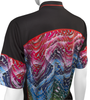 Multi-color print is rich, interesting and fun on back of jersey