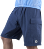 Cargo Mountain Bike Shorts with Padded Underliner Navy Front View