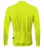 Aero Tech Long Sleeve Cycling Jersey High Visibility Safety Yellow Back View