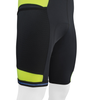 Men's Gel Touring Bib Shorts Safety Yellow Off Bottom Front View